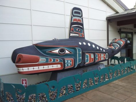 beautifully carved whale outside Jamestown S'Klallam Tribal Center