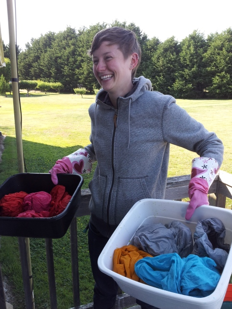 These fabrics were first rinsed outdoors in cold water to get most of the excess dye removed.
