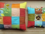 pincushions, hand dyed patchwork