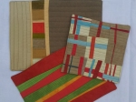 improv pieced table mats, hand dyed fabrics