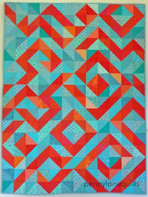 "aqua and orange HST quilt ""Coral Reef"""