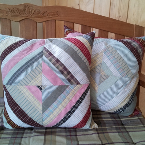 pillows made from upcycled shirts