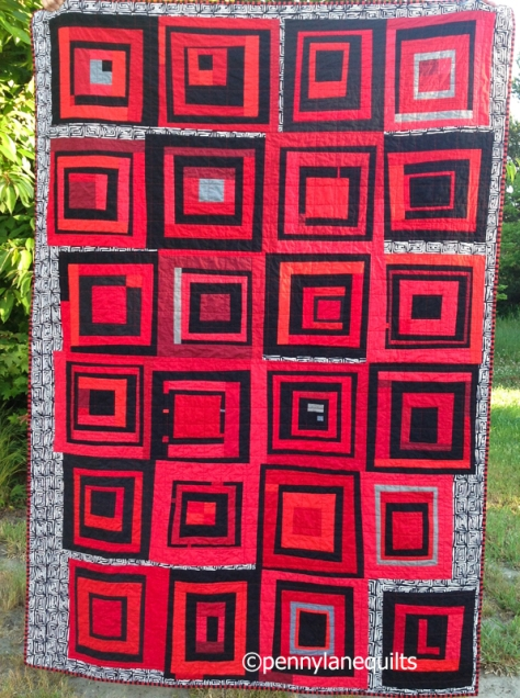 graduation quilt, improv log cabins, by Marla Varner, pennylanequilts