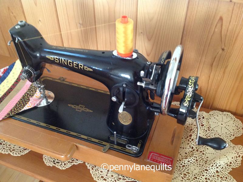 handcrank Singer sewing machine