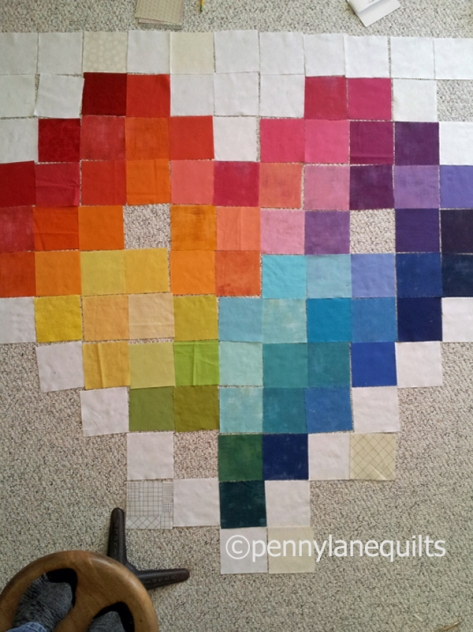 rainbow pixelated heart, Marla Varner, pennylanequilts