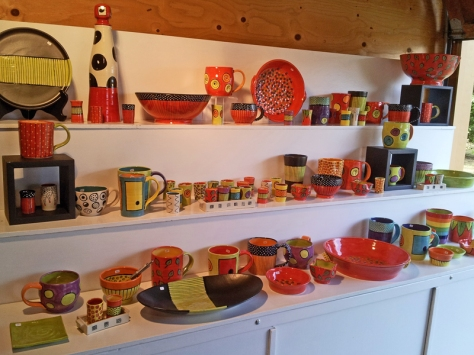 Diana Cronin's colorful pottery on display at her home studio, Egg & I Pottery