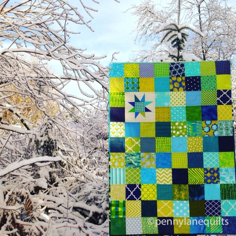 blue and green baby quilt by Marla Varner, penny lane quilts