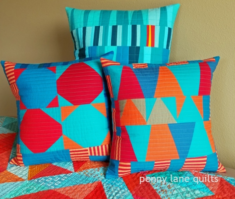 pillows from free-form blocks Marla Varner penny lane quilts