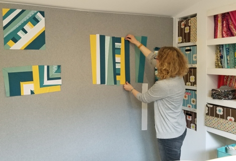 Daniela BlockM Quilts working on psychedelic baby quilt blocks