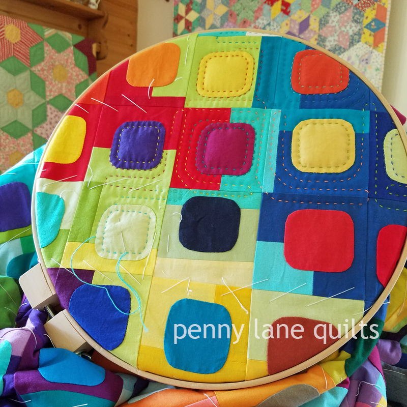 squircles quilt hand quilting, Marla Varner, penny lane quilts