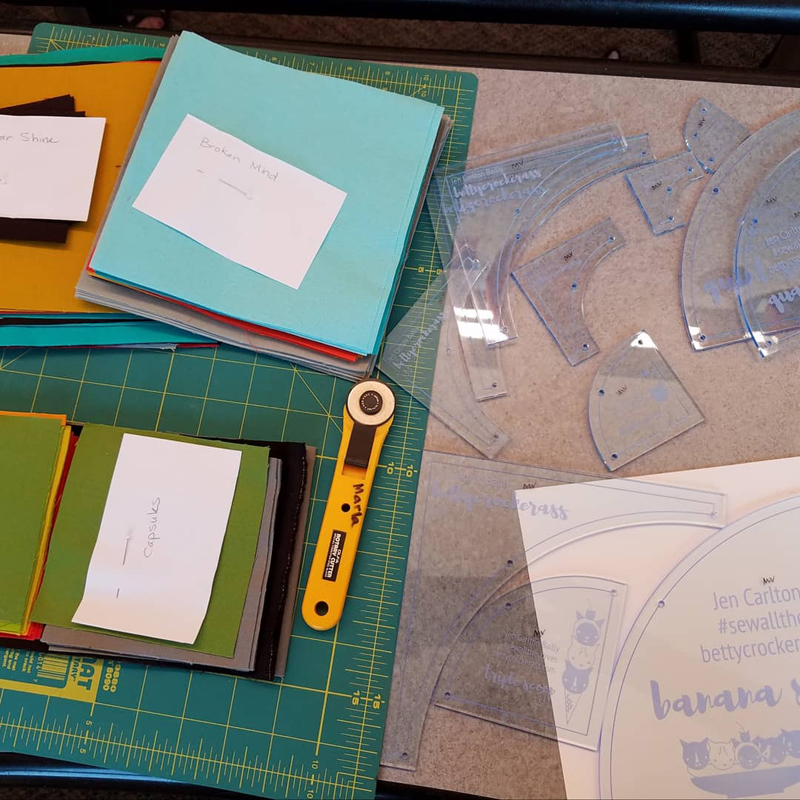 fabric prepped and ready to start cutting using Jen Carlton Bailley's templates